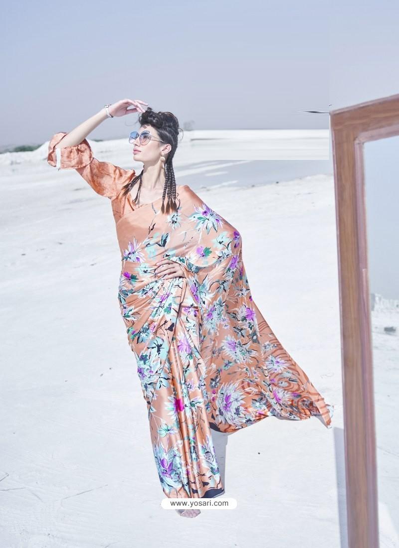 Light Orange Latest Casual Designer Japan Satin Crepe Sari