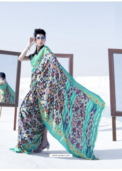 Aqua Mint Latest Casual Designer Japan Satin Crepe Sari