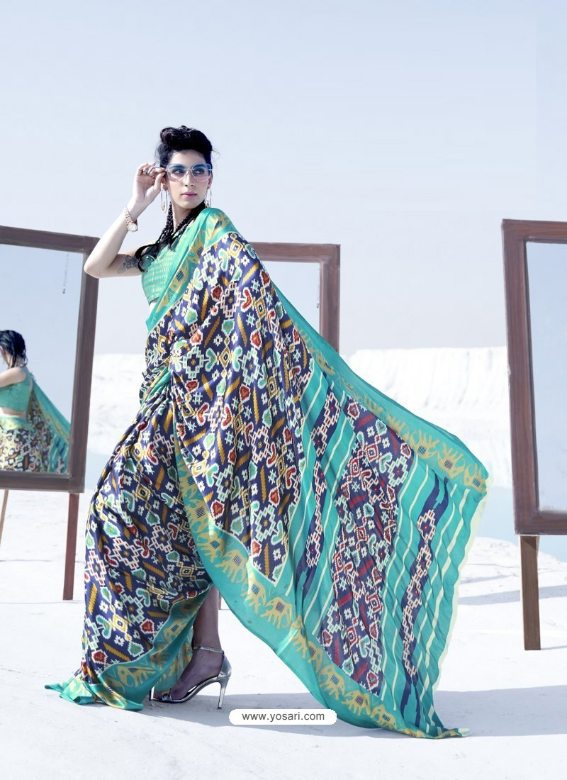 Aqua Mint Latest Casual Designer Japan Satin Crepe Sari