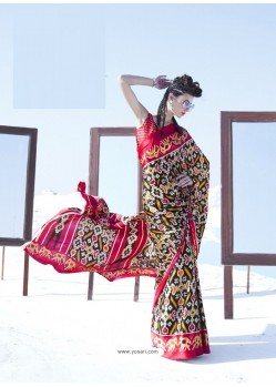 Red Latest Casual Designer Japan Satin Crepe Sari