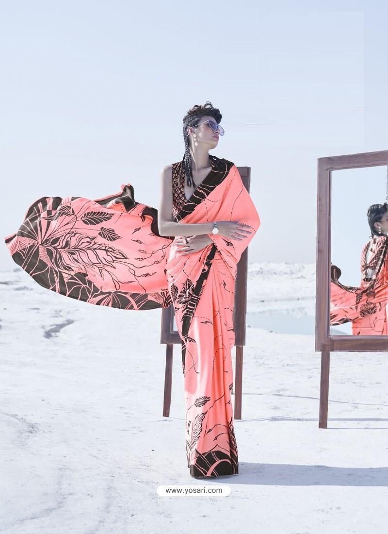 Peach Latest Casual Designer Japan Satin Crepe Sari