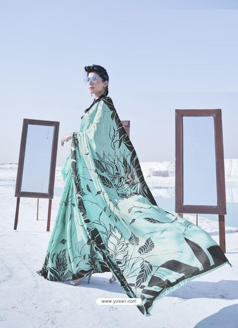 Sky Blue Latest Casual Designer Japan Satin Crepe Sari