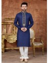 Dark Blue Designer Festive Wear Kurta Pajama For Men