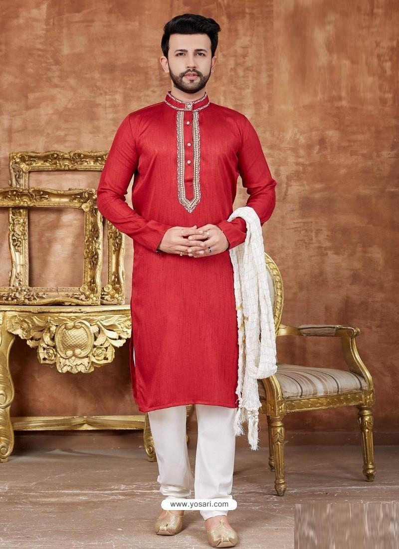 Red Designer Festive Wear Kurta Pajama For Men