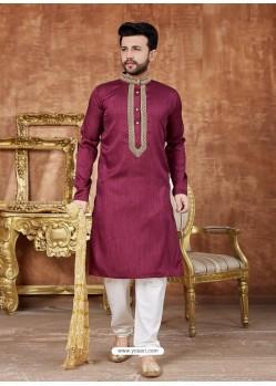 Maroon Designer Festive Wear Kurta Pajama For Men