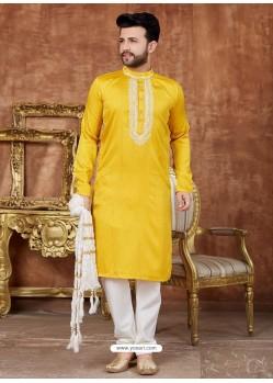 Yellow Designer Festive Wear Kurta Pajama For Men
