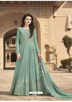 Grayish Green Stunning Heavy Designer Soft Georgette Party Wear Anarkali Suit