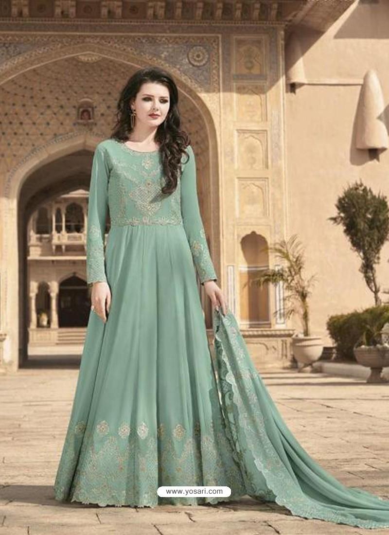 Grayish Green Stunning Heavy Designer Soft Georgette Party Wear Anarkali Suit