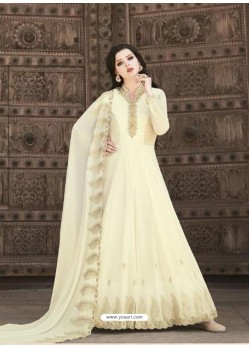 Off White Stunning Heavy Designer Soft Georgette Party Wear Anarkali Suit