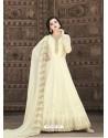 Off White Stunning Heavy Designer Soft Georgette Party Wear Anarkali Suit