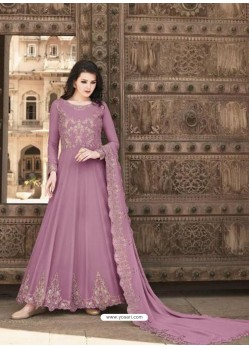 Mauve Stunning Heavy Designer Soft Georgette Party Wear Anarkali Suit