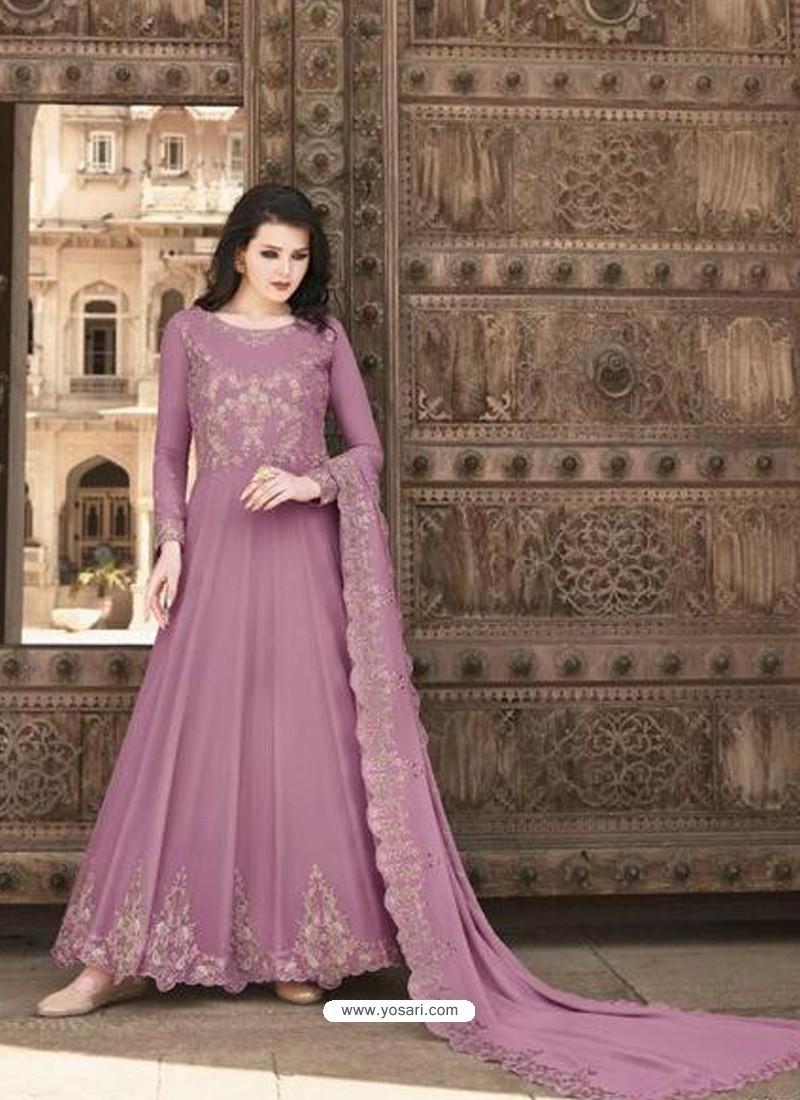 Mauve Stunning Heavy Designer Soft Georgette Party Wear Anarkali Suit