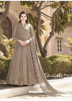 Light Brown Stunning Heavy Designer Soft Georgette Party Wear Anarkali Suit