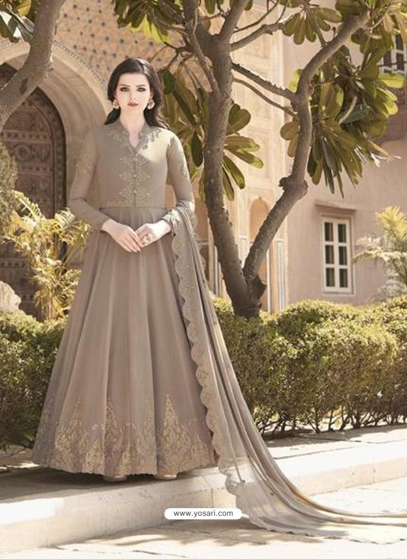 Light Brown Stunning Heavy Designer Soft Georgette Party Wear Anarkali Suit