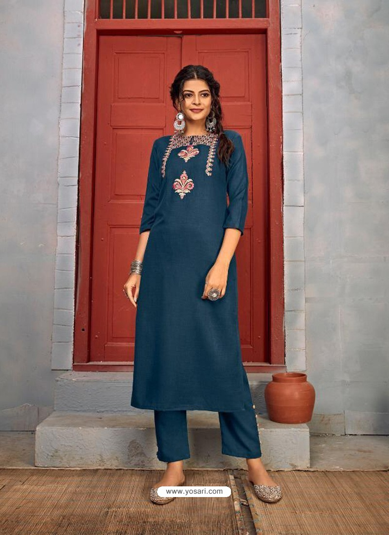 Teal Blue Designer Party Wear Rayon Kurti With Bottom
