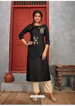 Black Designer Party Wear Rayon Kurti With Bottom