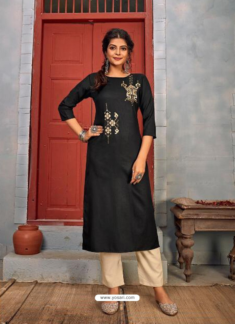 Black Designer Party Wear Rayon Kurti With Bottom