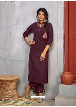 Deep Wine Designer Party Wear Rayon Kurti With Bottom