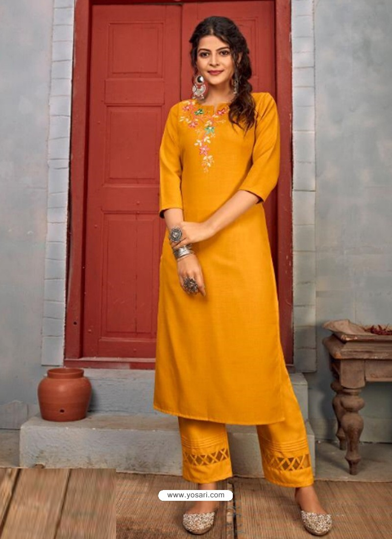 Yellow Designer Party Wear Rayon Kurti With Bottom