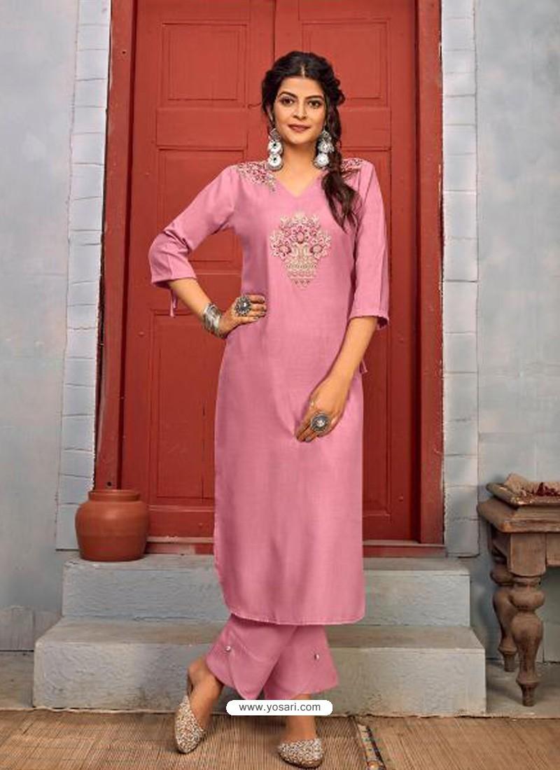 Pink Designer Party Wear Rayon Kurti With Bottom