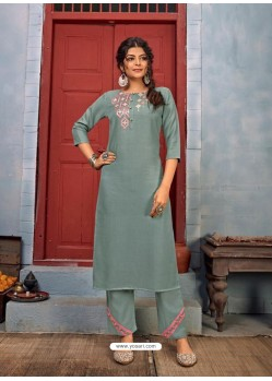 Grayish Green Designer Party Wear Rayon Kurti With Bottom