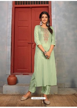 Pista Green Designer Party Wear Rayon Kurti With Bottom
