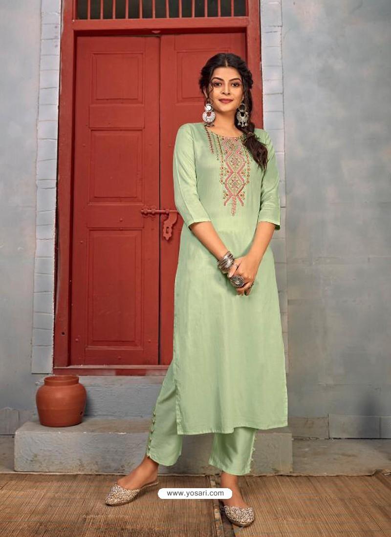 Pista Green Designer Party Wear Rayon Kurti With Bottom