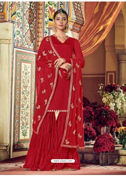 Red Designer Heavy Party Wear Sharara Suit