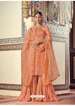 Light Orange Designer Heavy Party Wear Sharara Suit