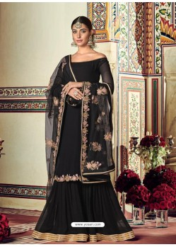 Black Designer Heavy Party Wear Sharara Suit