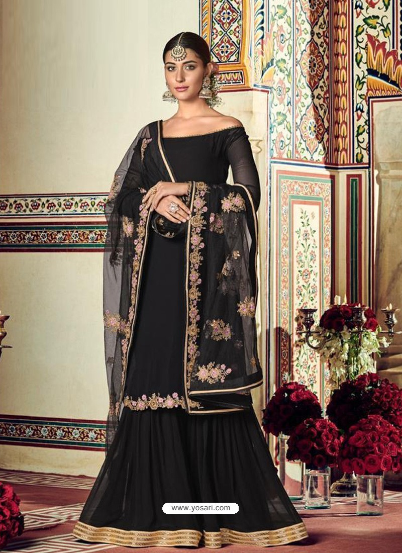 Black Designer Heavy Party Wear Sharara Suit