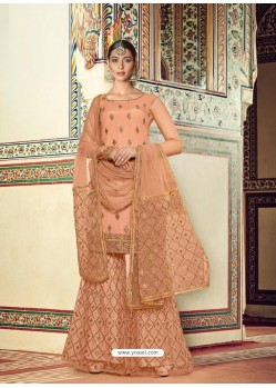 Light Orange Designer Heavy Party Wear Sharara Suit
