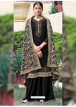 Black Designer Heavy Party Wear Georgette Palazzo Salwar Suit