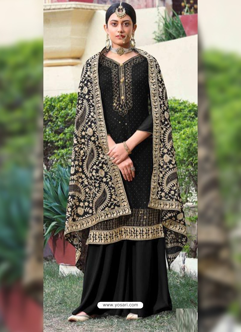 Black Designer Heavy Party Wear Georgette Palazzo Salwar Suit