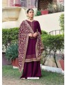 Purple Designer Heavy Party Wear Georgette Palazzo Salwar Suit