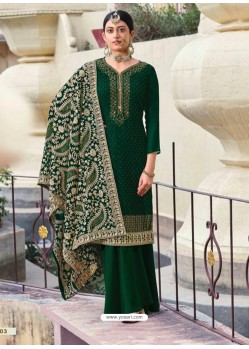 Dark Green Designer Heavy Party Wear Georgette Palazzo Salwar Suit