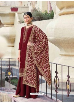 Maroon Designer Heavy Party Wear Georgette Palazzo Salwar Suit