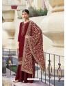 Maroon Designer Heavy Party Wear Georgette Palazzo Salwar Suit