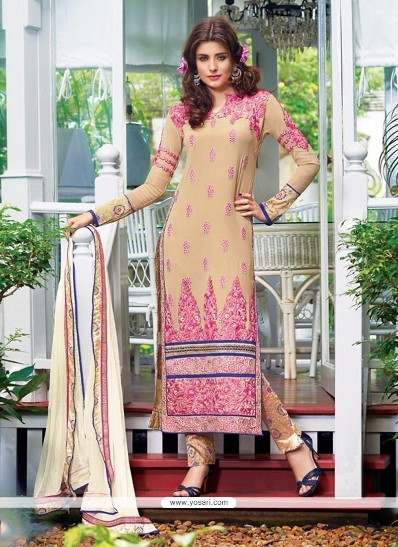 Suave Lace Work Designer Straight Salwar Kameez
