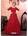 Red Stylish Designer Party Wear Gown