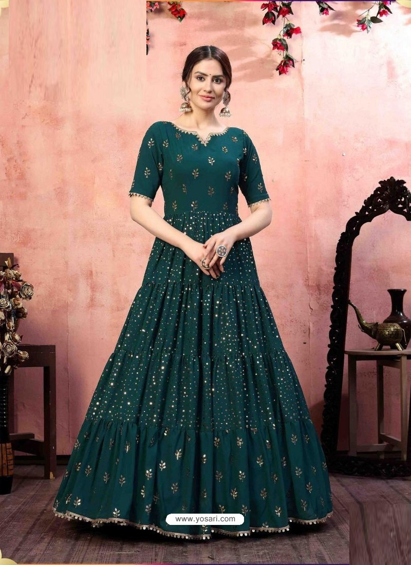 Teal Stylish Designer Party Wear Gown
