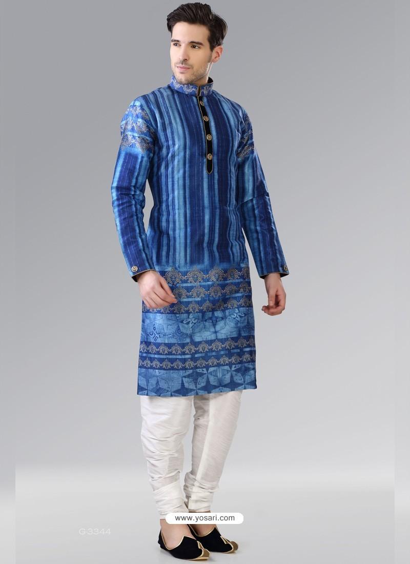 Dark Blue Readymade Designer Party Wear Kurta Pajama For Men