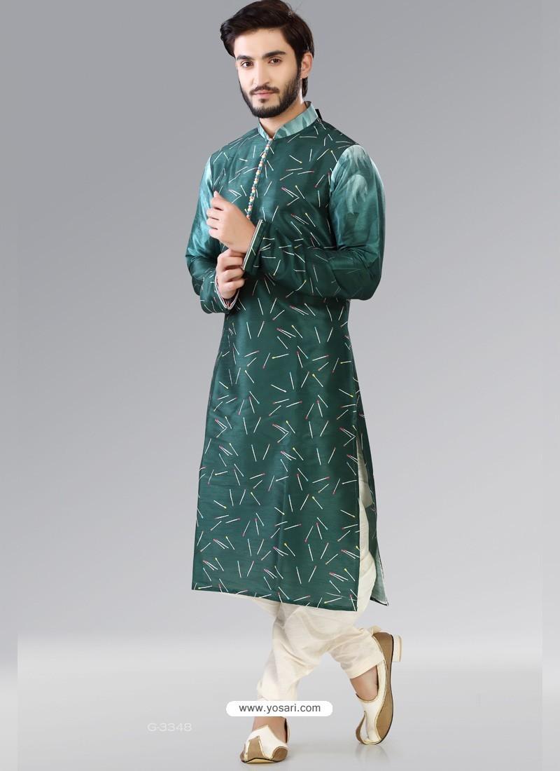 Teal Readymade Designer Party Wear Kurta Pajama For Men