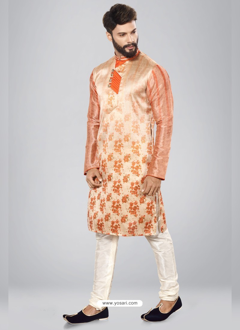Light Orange Readymade Designer Party Wear Kurta Pajama For Men