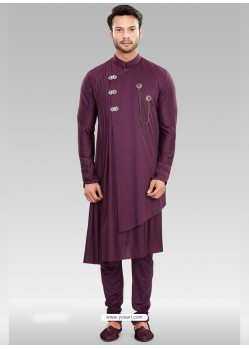 Purple Readymade Designer Party Wear Kurta Pajama For Men