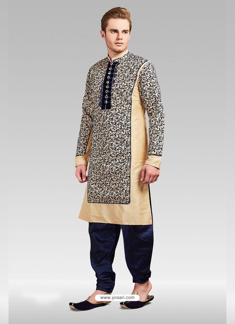 Cream Readymade Designer Party Wear Kurta Pajama For Men