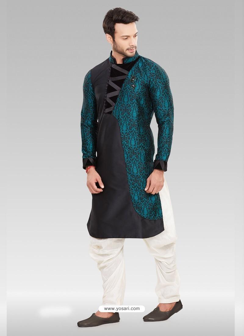 Black Readymade Designer Party Wear Kurta Pajama For Men