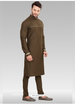 Copper Readymade Designer Party Wear Kurta Pajama For Men