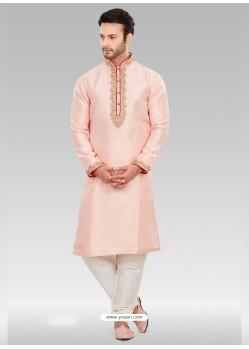 Baby Pink Readymade Designer Party Wear Kurta Pajama For Men