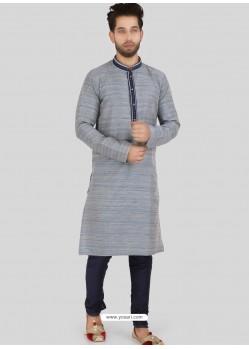 Aqua Grey Readymade Designer Party Wear Kurta Pajama For Men